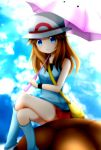 1girl :3 aqua_legwear black_wristband blastoise blue_(pokemon) blue_eyes blue_shirt blue_sky breasts brown_hair closed_mouth clouds cloudy_sky commentary_request day ditto feet_out_of_frame gen_1_pokemon hat holding holding_umbrella leg_warmers legs long_hair looking_at_viewer miniskirt outdoors pokemon pokemon_special red_skirt shell shirt sitting skirt sky sleeveless sleeveless_shirt small_breasts smile solo_focus transformed_ditto umbrella white_hat wristband yuinya_(chicken5536)
