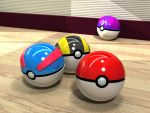 3d :d commentary_request ditto gen_1_pokemon great_ball kaidori master_ball no_humans open_mouth photorealistic poke_ball poke_ball_(generic) pokemon realistic reflection single_letter smile still_life ultra_ball wooden_floor