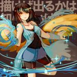 1girl angel_wings arm_warmers bare_shoulders black_hair black_shirt blue_skirt blue_vest breasts cleavage commentary_request final_fantasy final_fantasy_viii long_hair rinoa_heartilly shirt shorts_under_skirt skirt solo sunagimo_(nagimo) vest wings