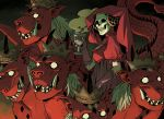 1girl chalice crown cup dress fangs gloves highres holding holding_cup horns monster mother_harlot riding shin_megami_tensei shin_megami_tensei_iii:_nocturne skull solo veil