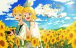 1boy 1girl :d anniversary arm_tattoo bare_arms bare_shoulders birthday blonde_hair blue_eyes blue_sky bow brother_and_sister camera clouds dress fangs frilled_dress frills hair_bow hair_ornament hairclip happy highres hill jam_(zamuchi) kagamine_len kagamine_rin nail_polish number_tattoo open_mouth shirt short_hair siblings sky sleeveless sleeveless_dress smile strap sun_beam sun_flare sundress t-shirt tareme tattoo teeth tsurime twins vocaloid white_dress yellow_nails