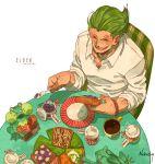 1boy artist_name bracelet closed_eyes coffee dated food frog green_hair jewelry male_focus marmalade nekodou_(yukatin1000) one_piece open_mouth simple_background solo teeth toast vinsmoke_yonji white_background