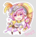1girl :d aiguillette armor black_shorts boomerang boots brown_footwear character_name chibi feathers flower_knight_girl full_body grey_background helmet huge_weapon knee_boots looking_at_viewer medal navel open_mouth pink_eyes pink_hair rhodanthe_(flower_knight_girl) sample satou_satoru shirt short_hair shorts simple_background smile solo weapon yellow_shirt