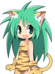 1girl :d animal_ears animal_print bangs bare_shoulders blush cham_cham collarbone commentary_request covered_navel eyebrows_visible_through_hair fang gloves green_eyes green_hair hair_between_eyes long_hair open_mouth osaragi_mitama paw_gloves paws samurai_spirits simple_background smile solo tail tiger_ears tiger_girl tiger_print tiger_tail very_long_hair white_background