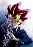 1boy black_hair blonde_hair card highres kanta-kun male_focus millennium_puzzle multicolored_hair mutou_yuugi solo spiky_hair yu-gi-oh! yuu-gi-ou_duel_monsters