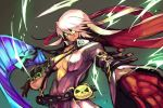 1girl arm_belt belt breasts closed_mouth collared_shirt commentary_request dress electricity foreshortening gloves green_eyes guilty_gear hair_between_eyes hankuri large_breasts long_hair long_sleeves open_clothes open_dress ramlethal_valentine red_gloves shirt smile solo upper_body white_hair wing_collar