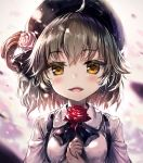 1girl :d ahoge akabane_(zebrasmise) bangs beret black_bow black_hat black_ribbon blush bow breasts brown_eyes brown_hair collared_shirt eyebrows_visible_through_hair fangs flower hair_between_eyes hair_flower hair_ornament hair_rings hands_up hat hatoba_tsugu hatoba_tsugu_(character) highres holding holding_flower looking_at_viewer medium_breasts open_mouth own_hands_together red_flower red_rose revision ribbon rose shirt smile solo suspenders virtual_youtuber white_flower white_rose white_shirt