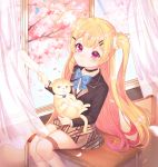 1girl absurdres ahoge animal azur_lane bangs bell black_blazer black_choker blazer blonde_hair blue_bow blush bow brown_skirt cat choker closed_mouth collared_shirt commentary_request curtains day desk eldridge_(azur_lane) eyebrows_visible_through_hair facial_mark flower gradient_hair hair_ornament hairclip highres holding holding_animal holding_cat holding_paper indoors jacket jingle_bell kneehighs long_hair long_sleeves looking_at_viewer multicolored_hair on_desk open_window paper petals pink_flower purple_hair reel37891 school_desk school_uniform shirt sitting sitting_on_desk skirt solo sunlight torn_paper two_side_up very_long_hair violet_eyes white_legwear white_shirt