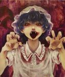 1girl bangs blue_hair creepy dress fangs fingernails hands_up hat looking_at_viewer meiji_(charisma_serve) mob_cap nail_polish nightmare_fuel open_mouth pointy_ears red_background red_eyes red_nails remilia_scarlet sharp_fingernails short_hair short_sleeves solo tongue tongue_out touhou vampire white_dress wing_collar