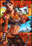 1girl abs absurdres aloy_(horizon) arm_guards arrow beads bow_(weapon) character_name copyright_name eyeshadow freckles green_eyes hair_slicked_back head_tilt headdress highres horizon_zero_dawn looking_at_viewer makeup midriff monori_rogue navel one_eye_closed parted_lips pouch redhead robot solo stomach strap toned upper_body weapon