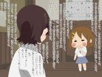 2girls fukujon hair_ornament hairclip hirasawa_yui japanese k-on! k-on!_movie manabe_nodoka multiple_girls translation_request v
