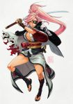 1girl amputee armor baiken boots breasts cleavage commentary facial_tattoo full_body guilty_gear guilty_gear_xrd highres holding holding_sword holding_weapon jacket_on_shoulders japanese_armor japanese_clothes kanta-kun kataginu katana kimono knee_boots kote large_breasts lips long_hair looking_at_viewer mouth_hold no_bra obi official_style one-eyed open_clothes open_kimono pink_eyes pink_hair sash scar scar_across_eye sheath solo straw_(stalk) sword tattoo toeless_boots weapon