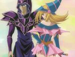 1boy 1girl blonde_hair commentary_request dark_magician dark_magician_girl duel_monster hat long_hair parody style_parody wizard_hat yu-gi-oh! yuu-gi-ou_duel_monsters