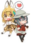 2girls :d animal_ears backpack bag black_gloves black_hair black_legwear chibi commentary_request elbow_gloves fang gloves grey_eyes hat heart imomushi_(iimomushii) kaban_(kemono_friends) kemono_friends light_brown_hair looking_at_another multiple_girls open_mouth pantyhose serval_(kemono_friends) serval_ears serval_tail short_hair shorts simple_background smile spoken_heart tail yellow_eyes