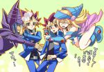 1girl blonde_hair commentary_request dark_magician dark_magician_girl duel_monster haruka_(siaru) hat long_hair multiple_boys mutou_yuugi open_mouth wizard_hat yami_yuugi yu-gi-oh! yuu-gi-ou_duel_monsters