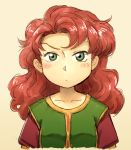1girl breasts commentary_request curly_hair dragon_quest dragon_quest_vii green_eyes long_hair looking_at_viewer maribel_(dq7) redhead solo