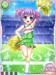 1girl arm_up armpits blue_eyes card_(medium) cheerleader child green_skirt hand_on_hip kneehighs koihime_musou leg_up navel official_art open_mouth outdoors pom_poms purple_hair ribbon riri short_hair skirt smile solo sparkle stadium standing standing_on_one_leg twintails vest white_legwear yatsuha_kanan