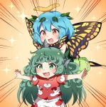2girls :d animal_ears antennae bangs blue_hair blush brown_eyes butterfly_wings caramell0501 cloud_print collared_shirt commentary_request curly_hair dress emphasis_lines eternity_larva eyebrows_visible_through_hair fang green_eyes green_hair hair_between_eyes horn kariyushi_shirt komano_aun leaf leaf_on_head long_hair multiple_girls open_mouth outstretched_arms print_shirt print_shorts red_shirt shirt short_hair short_sleeves shorts sleeveless sleeveless_dress smile sparkle spread_arms touhou very_long_hair white_shorts wings