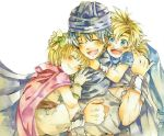 1girl ake_(ake54) bianca's_daughter bianca's_son blonde_hair blue_eyes blush dragon_quest dragon_quest_v father_and_daughter father_and_son hero_(dq5) multiple_boys short_hair smile traditional_media watercolor_pencil_(medium)