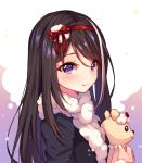 1girl artist_name black_hair black_shirt blush borrowed_character bow closed_mouth commission eyebrows_visible_through_hair fur_scarf hair_ribbon hairband holding hyanna-natsu long_hair long_sleeves looking_at_viewer looking_to_the_side multicolored_hair original red_bow red_hairband ribbon scarf shiny shiny_hair shirt smile solo streaked_hair stuffed_animal stuffed_toy teddy_bear upper_body violet_eyes white_hair white_scarf