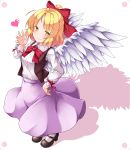 aka_tawashi angel_wings blonde_hair dutch_angle gengetsu hair_ribbon heart highres long_sleeves looking_at_viewer mary_janes red_neckwear red_ribbon ribbon shadow shoes simple_background skirt touhou touhou_(pc-98) vest white_background wings yellow_eyes