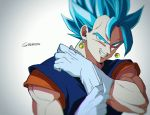 1boy blue_eyes blue_hair close-up dragon_ball dragon_ball_super dragonball_z earrings frown gloves gradient gradient_background grey_background grin head_tilt jewelry looking_at_viewer male_focus muscle potara_earrings shaded_face short_hair simple_background smile spiky_hair super_saiyan_blue tama_azusa_hatsu twitter_username upper_body vegetto white_background