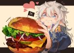 1girl blue_eyes blush eyebrows_visible_through_hair food hamburger heart heart-shaped_pupils holding holding_food long_hair long_sleeves looking_at_viewer original pointy_ears saliva silver_hair solo symbol-shaped_pupils takotsu upper_body