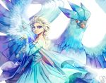 articuno blonde_hair blue_dress blue_eyes commentary dress elsa_(frozen) english_commentary frozen_(disney) gen_1_pokemon highres ice legendary_pokemon long_hair long_sleeves looking_at_viewer parted_lips pokemon pokemon_(creature) red_eyes sa-dui signature simple_background smile standing white_background