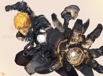 1boy black_pants black_sclera blonde_hair character_name clenched_hand clenched_teeth cyborg genos hair_between_eyes looking_at_viewer male_focus motion_blur one-punch_man pants parts_exposed signature solo teeth weapon yang-do yellow_eyes