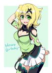 1girl akatsuki_kirika arm_up belt black_legwear blonde_hair breasts cleavage cleavage_cutout commentary_request cowboy_shot eyebrows_visible_through_hair green_eyes hair_ornament happy_birthday legs_together looking_at_viewer medium_breasts open_mouth senki_zesshou_symphogear shiny shiny_hair shiny_skin short_hair skirt solo standing thigh-highs white_skirt x_hair_ornament zetsumu
