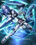 00_qan[t] artist_name dual_wielding earth gn_drive gunblade gundam gundam_00_a_wakening_of_the_trailblazer highres light_particles mecha no_humans shield signature sword wa-kun weapon