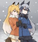 2girls :| animal_ears arm_grab bangs black_bow black_gloves black_legwear black_neckwear black_skirt blue_coat bow brown_eyes closed_mouth commentary_request cowboy_shot eyebrows_visible_through_hair ezo_red_fox_(kemono_friends) fox_ears fox_tail fur-trimmed_sleeves fur_trim gloves gradient_hair grey_hair kemono_friends long_hair long_sleeves looking_to_the_side miniskirt multicolored_hair multiple_girls necktie orange_coat orange_hair orange_neckwear outdoors pantyhose pleated_skirt ree_(re-19) silver_fox_(kemono_friends) skirt snow standing tail white_bow white_skirt winter_clothes