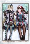 2girls :d absurdres alicia_melchiott ankle_boots argyle argyle_legwear armor bangs blonde_hair blue_eyes boots breast_pocket breasts brown_footwear brown_hair coat eyebrows_visible_through_hair faulds fur_trim hairband hand_up highres honjou_raita huge_filesize knee_boots long_hair long_sleeves looking_at_another medium_breasts multiple_girls official_art open_mouth pantyhose pleated_skirt pocket red_eyes red_neckwear reiley_miller scan senjou_no_valkyria senjou_no_valkyria_4 shoulder_armor sidelocks sitting skirt smile thigh-highs turtleneck watch winter_clothes winter_coat