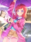 1girl absurdres bangs birthday car ground_vehicle happy_birthday heart heart_necklace highres jacket jewelry long_sleeves love_live! love_live!_school_idol_project motor_vehicle necklace nishikino_maki rain redhead shaka_(staito0515) short_hair short_shorts shorts solo umbrella violet_eyes
