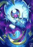 commentary crossover english_commentary full_moon gen_7_pokemon headphones lunala moon napstablook pokeball_symbol pokemon pokemon_(creature) sa-dui signature space_print spread_wings starry_sky_print undertale