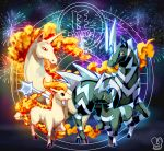 blitzle chinese_zodiac commentary fireworks gen_1_pokemon gen_5_pokemon highres horse no_humans pokemon pokemon_(creature) ponyta rapidash sa-dui signature year_of_the_horse zebstrika