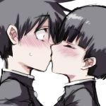 2boys bangs black_hair black_shirt blush closed_eyes commentary eyebrows_visible_through_hair full-face_blush hair_between_eyes highres kiss looking_at_another misteor multiple_boys original shirt short_hair white_background yaoi