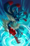 absurdres aura commentary english_commentary fur gen_4_pokemon highres looking_at_viewer lucario mega_lucario mega_pokemon pokemon pokemon_(creature) red_eyes sa-dui signature solo spikes standing standing_on_one_leg