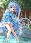 1girl :d absurdres barefoot blue_bow blue_dress blue_eyes blue_hair blurry blurry_background blush bow breasts day dress flower_knight_girl forest hair_bow hair_ornament highres lens_flare long_hair looking_at_viewer nature nerine_(flower_knight_girl) open_mouth outdoors ponytail rock skirt skirt_lift small_breasts smile solo standing very_long_hair water