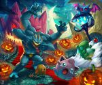 absurdres anger_vein belt clouds commentary_request commission constellation crescent_moon diglett fence fire gen_1_pokemon gen_3_pokemon gen_5_pokemon halloween highres jack-o'-lantern jigglypuff lampent lunatone machamp moon night open_mouth outdoors pokemon sa-dui signature sky stairs star_(sky) starry_moon starry_sky substitute tears tongue tongue_out zubat