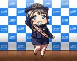 1girl black_footwear blue_eyes blue_jacket blue_neckwear blue_skirt blush checkered_wall chibi commentary_request grey_hair grin hat jacket long_sleeves looking_at_viewer love_live! love_live!_sunshine!! necktie pencil_skirt police police_hat police_uniform policewoman reflective_floor salute sash short_hair skirt smile solo standing tile_floor tiles uniform usamaru67pi watanabe_you