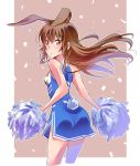 1girl animal_ears ass bangs bare_arms bare_shoulders blue_dress blush breasts brown_background brown_eyes brown_hair bunny_girl bunny_tail cheerleader closed_mouth clothes_writing cropped_legs dress eyebrows_visible_through_hair highres holding iesupa leaning_forward looking_at_viewer pom_poms pouty_lips rabbit_ears rwby side_slit sleeveless sleeveless_dress small_breasts solo tail thighs velvet_scarlatina