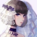 1girl bridal_veil brown_hair choker closed_mouth commentary_request eyebrows_visible_through_hair grey_background highres looking_at_viewer original portrait purple_choker romiy short_hair solo veil violet_eyes