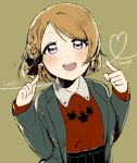 1girl :d berisuno_(beriberi0707) black_bow black_skirt bow braid brown_background brown_hair commentary_request earrings english grey_jacket hair_bow hands_up jacket jewelry koizumi_hanayo long_sleeves looking_at_viewer love_live! love_live!_school_idol_project necklace open_mouth pointing pointing_at_self red_skirt short_hair sketch skirt smile solo upper_body violet_eyes