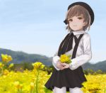 1girl beret black_hat black_ribbon black_skirt blue_sky blush brown_eyes brown_hair collared_shirt commentary_request day field fingernails flower flower_field goldowl hat hatoba_tsugu hatoba_tsugu_(character) highres holding holding_flower long_sleeves looking_at_viewer mole mole_under_eye outdoors pantyhose parted_lips ribbon shirt skirt sky smile solo suspender_skirt suspenders twitter_username virtual_youtuber white_legwear white_shirt yellow_flower