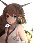 bare_shoulders breasts brown_hair collar eyebrows_visible_through_hair fairy_(kantai_collection) gloves green_eyes gundam gundam_wing hairband heero_yuy kantai_collection large_breasts mutsu_(kantai_collection) open_mouth remiria100 short_hair turret white_gloves