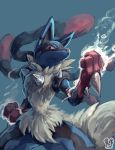 absurdres aura blue_background clenched_hands closed_mouth commentary_request fighting_stance gen_4_pokemon highres looking_at_viewer lucario mega_lucario mega_pokemon pokemon red_eyes sa-dui signature solo