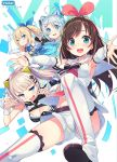 4girls a.i._channel antenna_hair blonde_hair blue_eyes blush boots breasts brown_hair cleavage d-pad d-pad_hair_ornament dennou_shoujo_youtuber_shiro grey_hair hair_ornament hairband hairclip highres kaguya_luna kaguya_luna_(character) kizuna_ai large_breasts long_hair mirai_akari mirai_akari_project multicolored_hair multiple_girls one_eye_closed open_mouth parted_lips pink_hair shiro_(dennou_shoujo_youtuber_shiro) short_hair short_twintails side_ponytail smile tam-u thigh-highs thigh_boots twintails