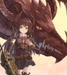 1girl belt black_dress black_footwear black_gloves black_hair boots bow bowtie brown_background cowboy_shot demon_horns dragon dress elbow_gloves eyebrows_visible_through_hair floating_hair forte_(shingeki_no_bahamut) gloves granblue_fantasy hair_between_eyes highres hikari_niji holding holding_weapon horns long_hair pleated_dress red_bow red_eyes red_neckwear shiny shiny_skin short_dress short_sleeves spaulders standing thigh-highs thigh_boots very_long_hair weapon