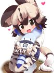 1girl :d african_wild_dog_(kemono_friends) african_wild_dog_ears african_wild_dog_print african_wild_dog_tail blonde_hair boots brown_eyes brown_hair commentary_request heart highres hug kemono_friends looking_at_viewer lucky_beast_(kemono_friends) makuran open_mouth pantyhose pantyhose_under_shorts print_legwear print_sleeves shirt short_over_long_sleeves short_shorts shorts smile squatting white_footwear white_shirt